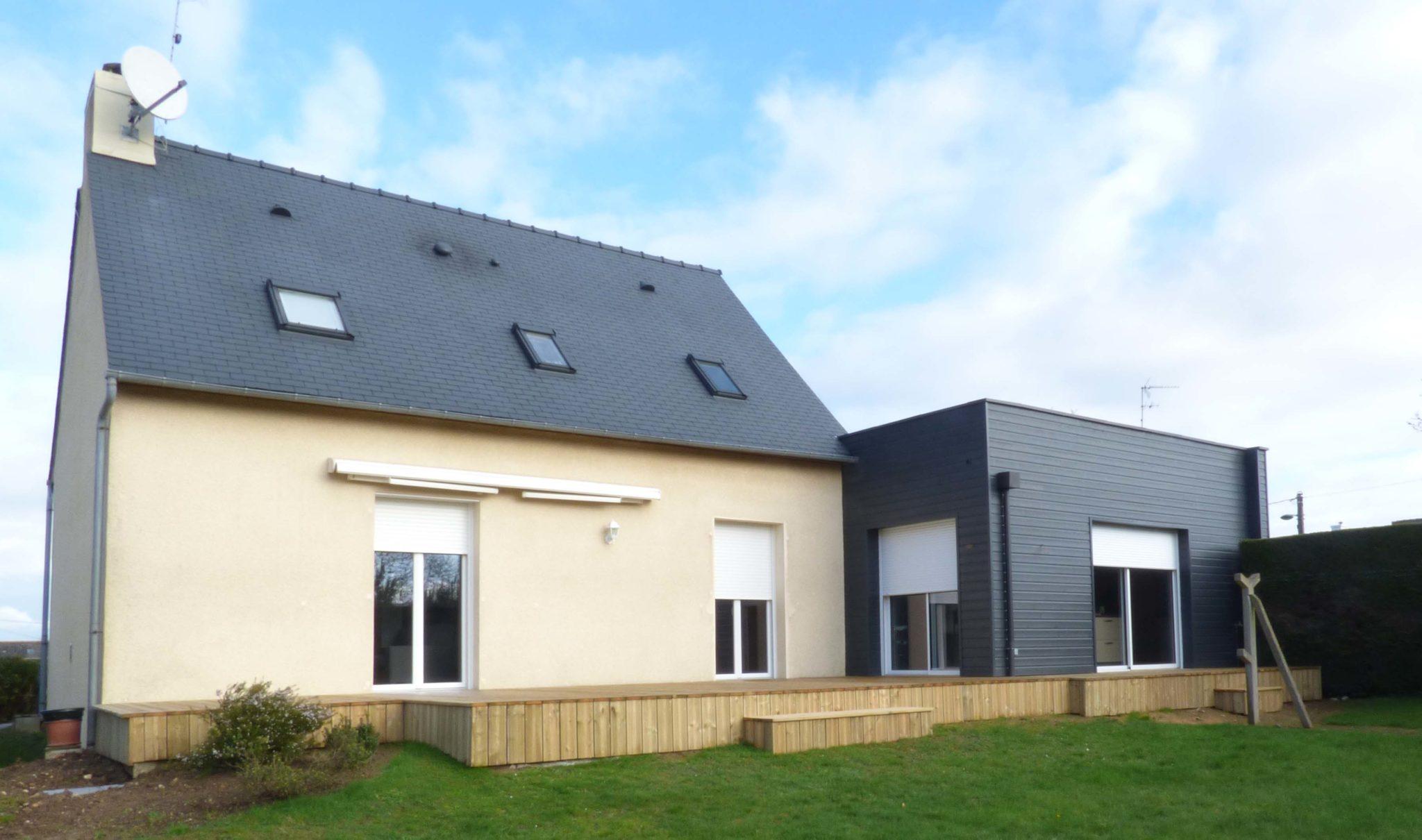 Agrandissement Maison Néo Bretonne extension ossature bois à quévert - arguenon construction